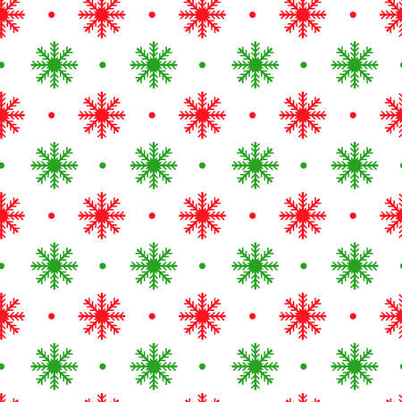 Simple retro Christmas seamless pattern with snowflakes. Traditional red and green colors background. Vector illustration. Winter endless texture can be copied without any seams 向量圖像