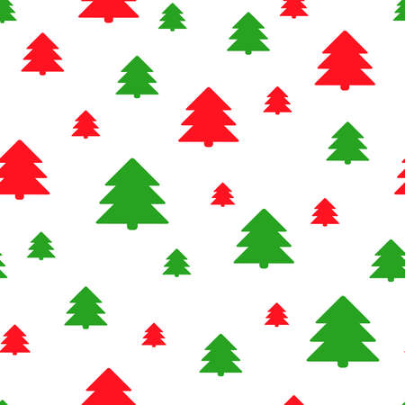 Simple retro Christmas seamless pattern with xmas trees. Traditional red and green colors background. Vector illustration. Winter endless texture can be copied without any seams