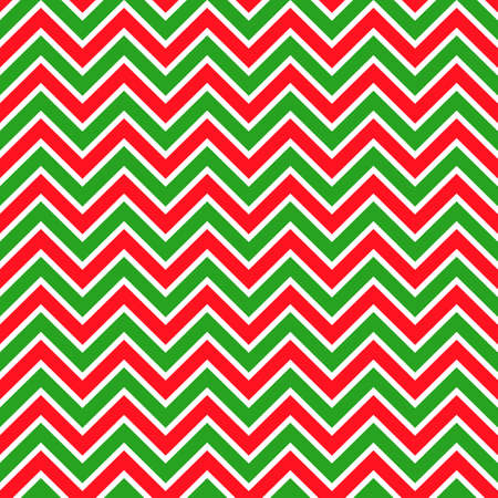 Background zigzag pattern in traditional Christmas colors. Vector seamless texture in red and green. New Year theme