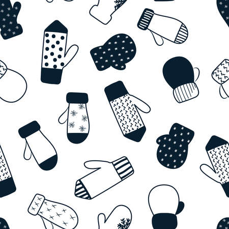 Mittens seamless pattern. Winter theme. Christmas and New Year background. Vector illustration.