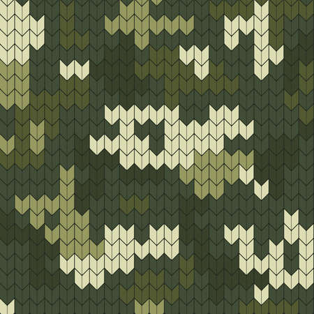 Knitting seamless texture with digital camouflage pattern. Traditional green colors vector illustration.
