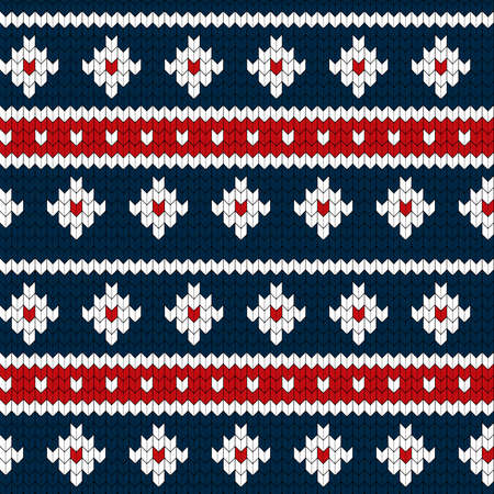 Seamless blue red and white colors knitted pattern. Warm and cozy style winter vector illustration. Sweater or pullover hand made.