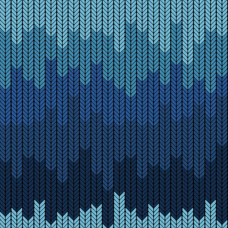 Seamless gradient knitted pattern in blue colors. Vector illustration. Winter theme.