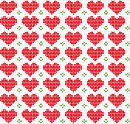 Knitted seamless pattern with hearts. Winter theme. Pullover hand made ornament. Christmas and New Year vector illustration.