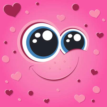 Pink cute monster face illustration. Cartoon vector portrait. Love emotion. Heart shape.