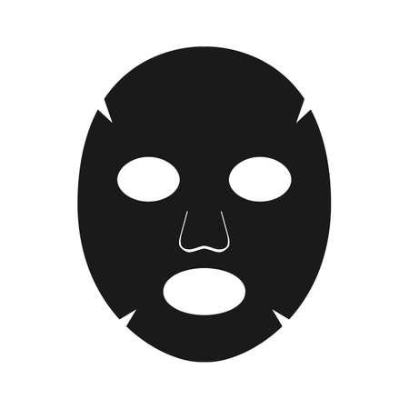 Face mask sheet black, skin care icon. Beauty illustration on white background. Editable vector illustration 向量圖像