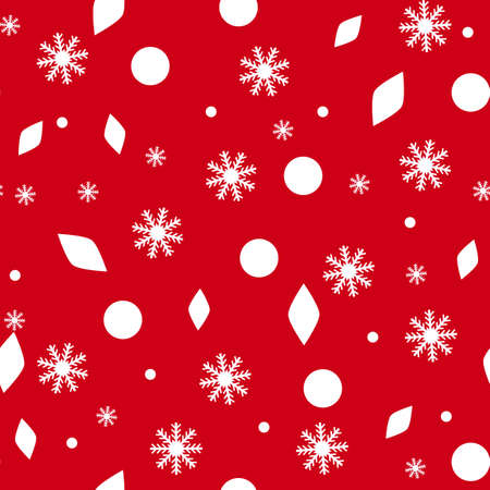 New Year pattern, seamless texture for Christmas design. Vector red background with snowflakes.