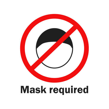 No entry without face mask. Mask required icon. Vector illustration. Covid. Corona virus.