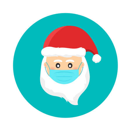 Santa Claus wearing medical face mask. Safe holidays during pandemic outbreak health crisis. Christmas vector illustration.