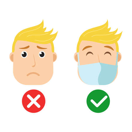 Vector illustration character portrait of young man wearing protecting mask. Face mask required icons. Covid. Corona virus