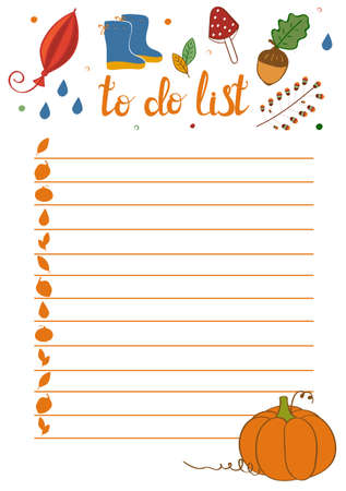 To Do List in doodle style. Vector illustration. Planner in autumn theme. Schedule. Notes template