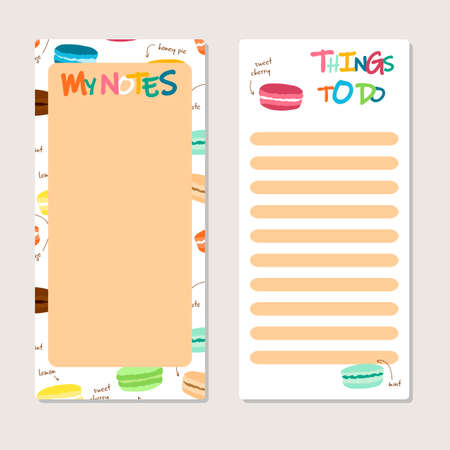 To Do List in doodle style set. Vector illustration. Planner with food theme elements. Schedule. Notes template. Macaroons. Sweet and cute.