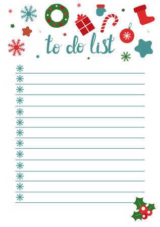 To Do List in doodle style. Vector illustration. Planner in winter Christmas theme. New Year schedule. Notes template 向量圖像