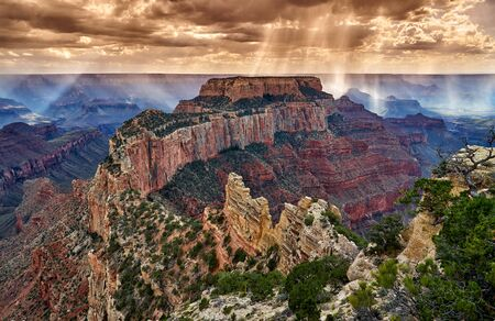 Thunderstorm and sun beams over Grand Canyon, Arizona, USA