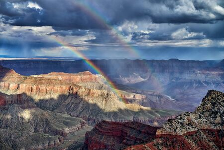 Thunderstorm and Rainbow over Grand Canyon, Arizona, USA