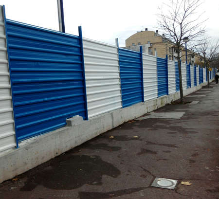 fence: Blue and white fence