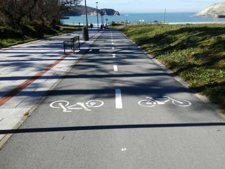 bike lane: Bike lane along the beach