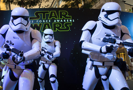 starwars: Bangkok, Thailand - 13 December 2015 : The Starwars display for promote movie Starwars 7 : The force awakens at Central world, Bangkok, Thailand.