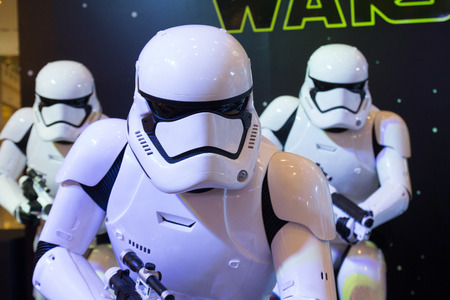 starwars: Bangkok, Thailand - 13 December 2015 : The Starwars display for promote movie Starwars 7 : The force awakens at Central world, Bangkok, Thailand.