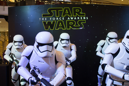 Bangkok, Thailand - 13 December 2015 : The Starwars display for promote movie Starwars 7 : The force awakens at Central world, Bangkok, Thailand.