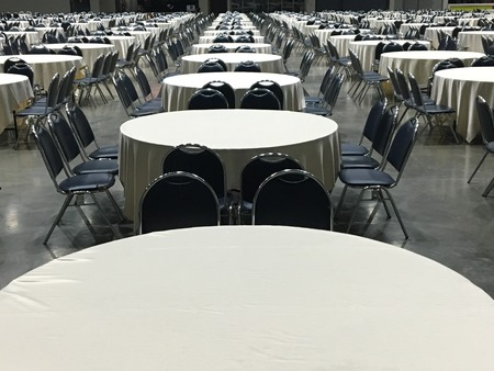 a meeting with a view to marriage: Group of round table for catering