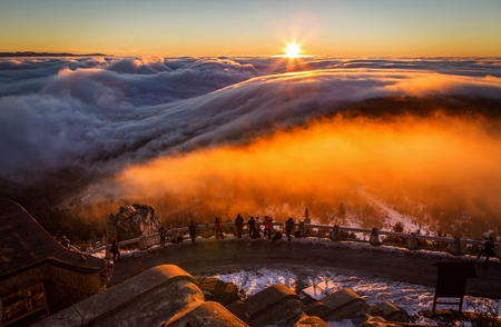 inversion panorama at sunrise Editorial