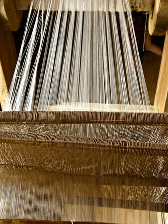 The ancient rural weaving loom Stock Photo