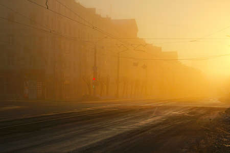 street in the fog of the morning