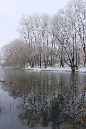 view of the river in the early morning spring photo