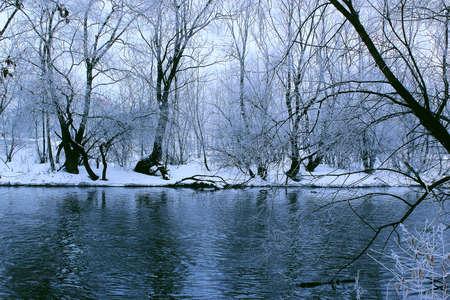 vista para o rio primavera no início da manhã na sombra de árvores cobertas de neve