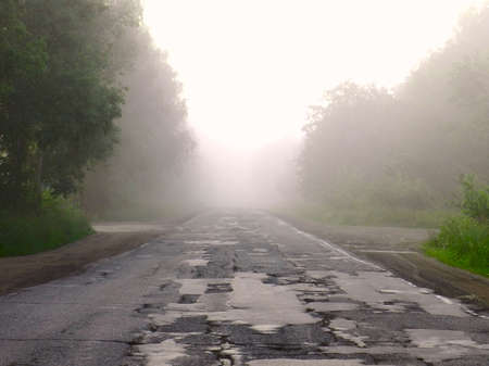asphalt road in the morning mist