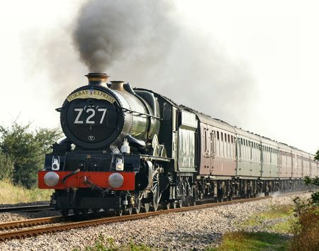 King Edward I Preserved loco as she approaches the Hewish level Crossing.