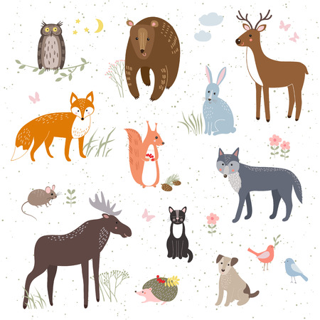 Vector set of cute animals: fox, bear, rabbit, squirrel, wolf, hedgehog, owl, deer, cat, dog, mouse.