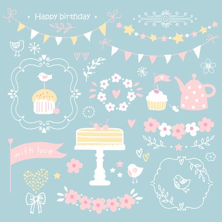 Conjunto de elementos de fiesta de cumpleaños. Ilustración.