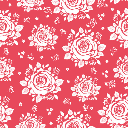 Seamless pattern of white roses. Floral background. Vector illus