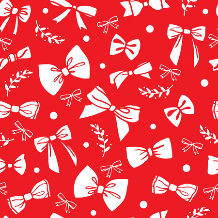 Seamless pattern with white bows on red background. Vector illus