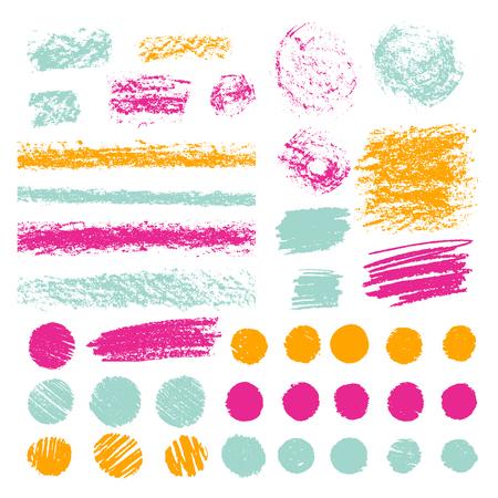鉛筆やパステルのブラシストロークのセット。クレヨンで落書き。ベクターデザイン要素。手描きイラスト。