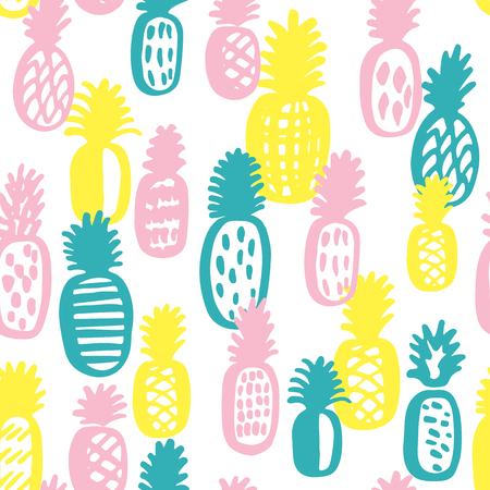 Vector seamless pattern with tropical fruit. Illustration