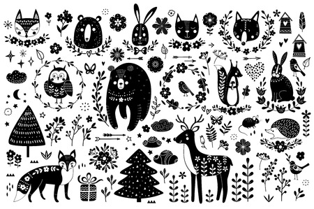 Vector set of cute animals: fox, bear, rabbit, squirrel, wolf, hedgehog, owl, deer, cat, mouse, birds. Collection of graphic elements: flowers, stars, clouds, arrows.