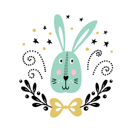Vector card with cute rabbit. Illustration for childrens prints, greetings, posters, t-shirt, packaging, invites. Postcard with cute bunny. Funny cartoon animal.