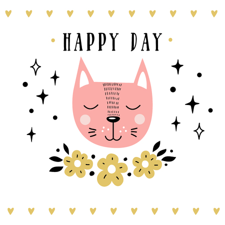 Vector card with cute cat. Illustration for childrens prints, greetings, posters, t-shirt, packaging, invites. Cute animal. Postcard with happy day text. Illustration