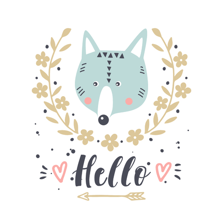 Vector card with cute wolf. Illustration for childrens prints, greetings, posters, t-shirt, packaging, invites. Cute animal. Postcard with hello text.