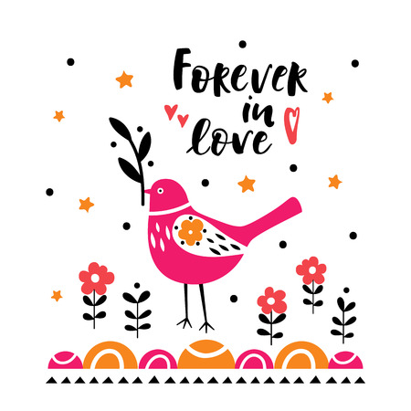 Postcard with cute bird. Illustration for childrens prints, greetings, posters, t-shirt, packaging, invites. Postcard with forever in love text. Standard-Bild