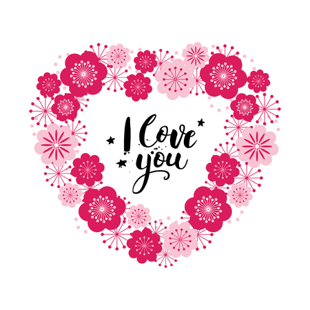 Valentines day card with lettering. I love you. Floral heart. Vector illustration.