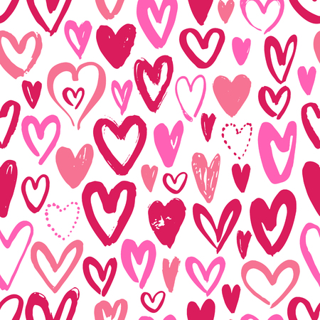 Seamless background with hand drawn hearts Vector illustration.