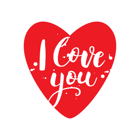 Valentines day card with lettering. I love you. Postcard or poster with hand drawn lettering. Vector illustration.