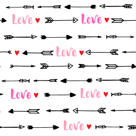 Seamless pattern with arrows and hearts for Valentines Day. Vector illustration.