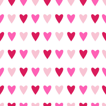 Seamless pattern with pink hearts on white. Background for Valentines day. Vector illustration. Ilustrace
