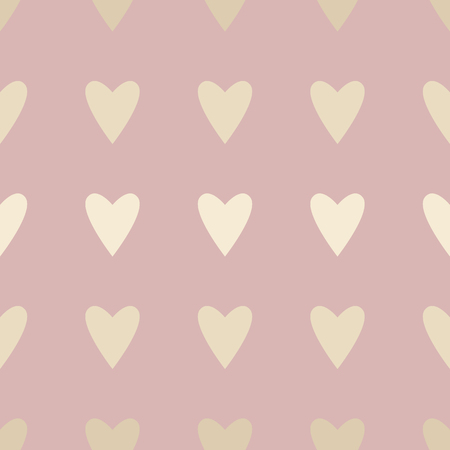Seamless pattern with gold hearts on pink. Background for Valentines day. Vector illustration.
