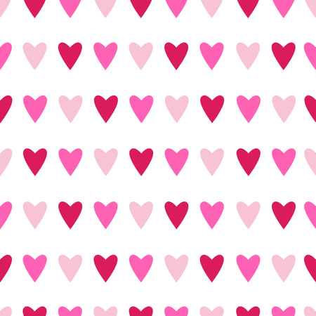 Seamless pattern with pink hearts on white background. Vector illustration.